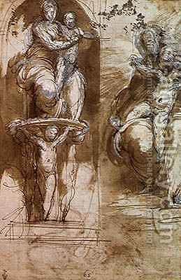 Two Studies of the Virgin and Child, before 1526 by Girolamo Francesco Maria Mazzola (Parmigianino) - Reproduction Oil Painting