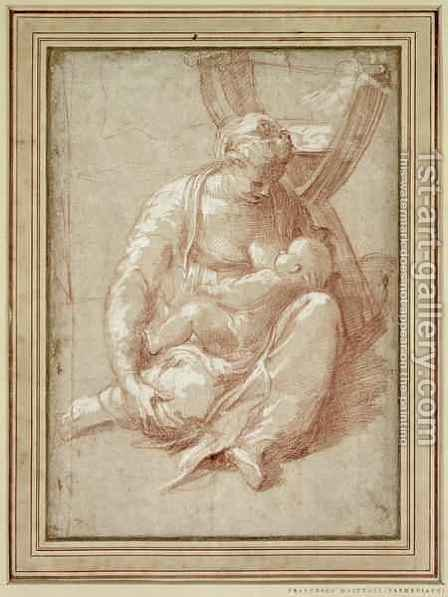 Virgin Seated on the Ground, Nursing the Child by Girolamo Francesco Maria Mazzola (Parmigianino) - Reproduction Oil Painting