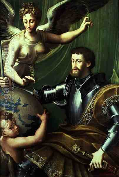 Emperor Charles V 1500-58 Receiving the World, c.1529 by Girolamo Francesco Maria Mazzola (Parmigianino) - Reproduction Oil Painting