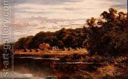 Harvesters in a Field by a River by Henry Hillier Parker - Reproduction Oil Painting