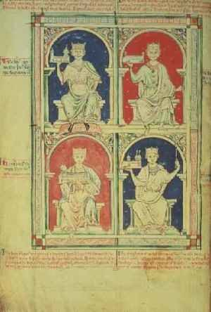 Medieval & Gothic Art painting reproductions: Four Kings of England William I, William II, Henry I and Stephen, from the Historia Anglorum, 1250