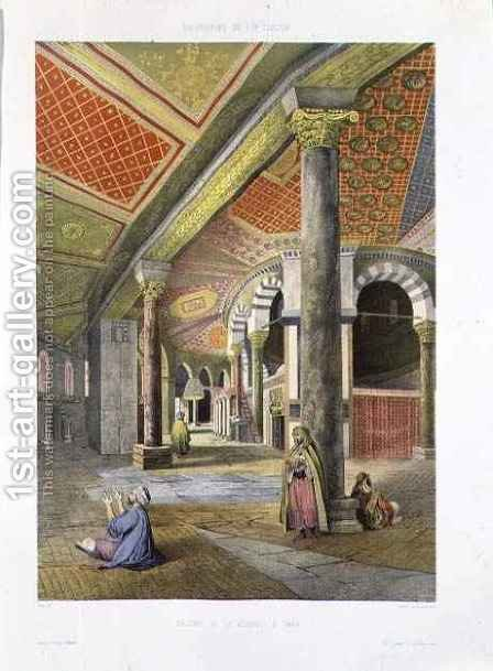 The Gallery of the Mosque of Omar, from Souvenirs of Jerusalem, engraved by Charles Claude Bachelier fl.1830-60 and Albert Adam b.1833, 1861 by (after) Paris - Reproduction Oil Painting