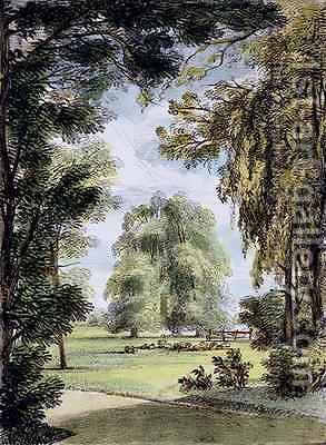 The Sister Trees, Kew Gardens, plate 8 from Kew Gardens A Series of Twenty-Four Drawings on Stone, engraved by Charles Hullmandel 1789-1850 published 1820 by (after) Papendiek, George Ernest - Reproduction Oil Painting