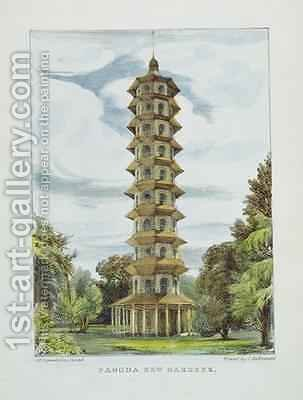 Pagoda, Kew Gardens, plate 9 from Kew Gardens A Series of Twenty-Four Drawings on Stone, engraved by Charles Hullmandel 1789-1850 by (after) Papendiek, George Ernest - Reproduction Oil Painting