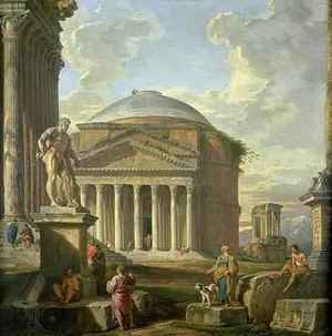 Rococo painting reproductions: View of the Pantheon, the Farnese Hercules and other Roman Ruins