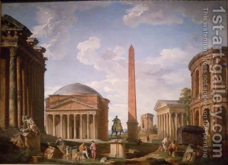 The Colosseum and other Monuments, 1735 by Giovanni Paolo Panini - Reproduction Oil Painting