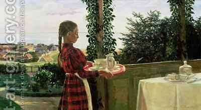 Teatime on the Verandah, 1899 by Henriette Panduro - Reproduction Oil Painting