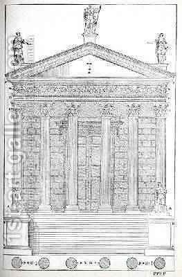 Elevation of the Temple of Nimes, illustration from a facsimile copy of I Quattro Libri dellArchitettura written by Palladio, originally published 1570 by (after) Palladio, Andrea - Reproduction Oil Painting