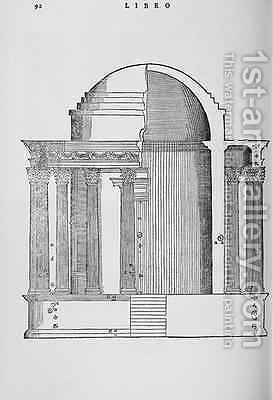 Cross Section of the Temple of Vesta at Tivoli, illustration from a facsimile copy of I Quattro Libri dellArchitettura written by Palladio, originally published 1570 by (after) Palladio, Andrea - Reproduction Oil Painting