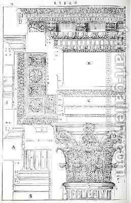 Decorative details from the Tempio of Trajan, illustration from a facsimile copy of I Quattro Libri dellArchitettura written by Palladio, originally published 1570 by (after) Palladio, Andrea - Reproduction Oil Painting
