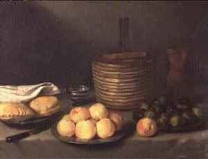 Famous paintings of Desserts: Still life with fruit, 1648