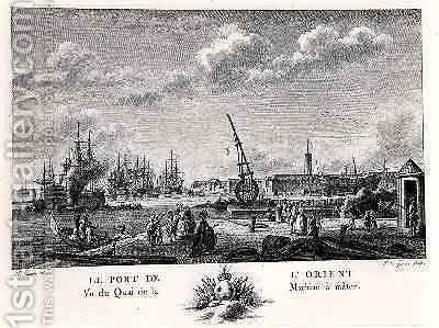 Port of L Orient, view of the Quay with the Machine for Masting, engraved by Yves Marie Le Gouaz 1742-1816 by (after) Ozanne, Nicolas Marie - Reproduction Oil Painting