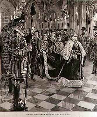 The Queen Passing through the Corridor to the House of Lords, from The Illustrated London News, 30th January 1886 by (after) Overend, William Heysham - Reproduction Oil Painting