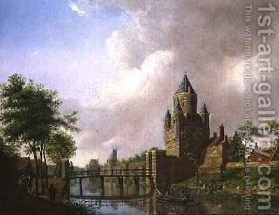 A View of the Kleine Houtpoort, Haarlem, 1778 by Isaak Ouwater - Reproduction Oil Painting