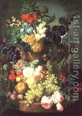 Still Life Mixed Flowers and Fruit with Birds Nest