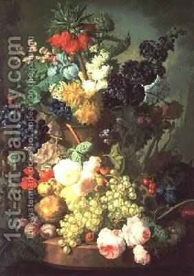 Huge version of Still Life Mixed Flowers and Fruit with Birds Nest