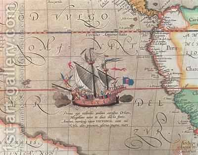 A sailing ship firing its cannon, detail from a map of the Pacific, China and America, 1599 by Abraham Ortelius - Reproduction Oil Painting