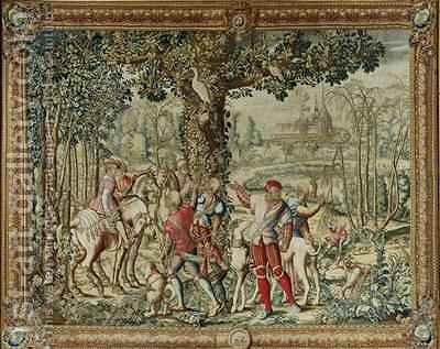 The Hunts of Maximilian Leo The Stag Hunt The Report by (after) Orley, Bernard van - Reproduction Oil Painting