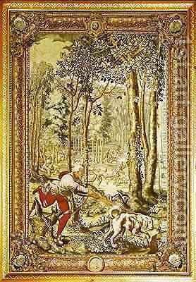Virgo the Bloodhound Hunting Deer from the Tenture des Chasses de Maximilien by (after) Orley, Bernard van - Reproduction Oil Painting