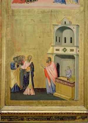 Andrea & Jacopo Orcagna di Cione reproductions - The Calling of St Matthew from the Altarpiece of St Matthew and Scenes from his Life 1367-70