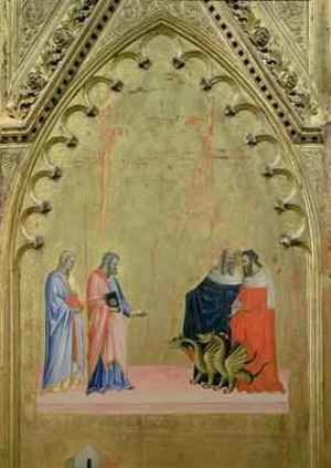 Reproduction oil paintings - Andrea & Jacopo Orcagna di Cione - The Miracle of the Dragons from the Altarpiece of St Matthew and Scenes from his Life 1367-70
