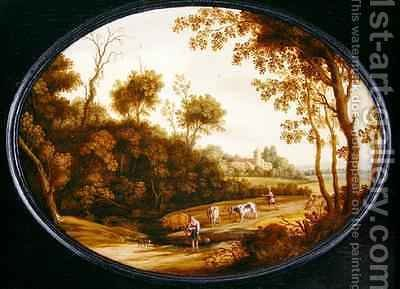 A Wooded Landscape by Isaak van Oosten - Reproduction Oil Painting