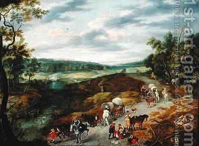 Thieves Attacking a Convoy of Travellers 1656 by Isaak van Oosten - Reproduction Oil Painting