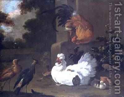 A Ruft a Lapwing and chickens by a mounting block by Adriaen van Oolen - Reproduction Oil Painting