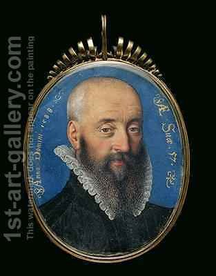 Portrait miniature of an unknown man aged 57 1588 by Isaac Oliver - Reproduction Oil Painting