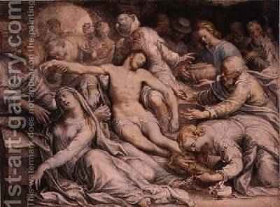 The Lamentation over the Dead Christ 1585 by Isaac Oliver - Reproduction Oil Painting