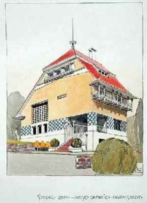 Joseph Maria Olbrich reproductions - Study for Olbrichs House Darmstadt from Architektur von Olbrich