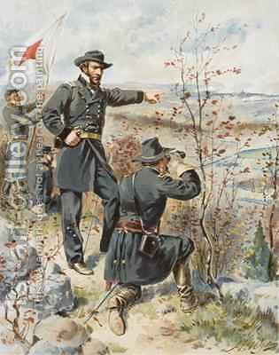 General Sherman at Kenesaw Mountain during the Battle of Allatoona Pass 4th October 1864 by Henry Alexander Ogden - Reproduction Oil Painting