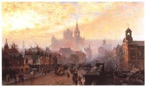 Famous paintings of Clouds & Skyscapes: St Pancras Hotel and Station from Pentonville Road