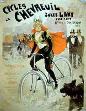 Famous paintings of Bicycling: Poster advertising Cycles Chevreuil