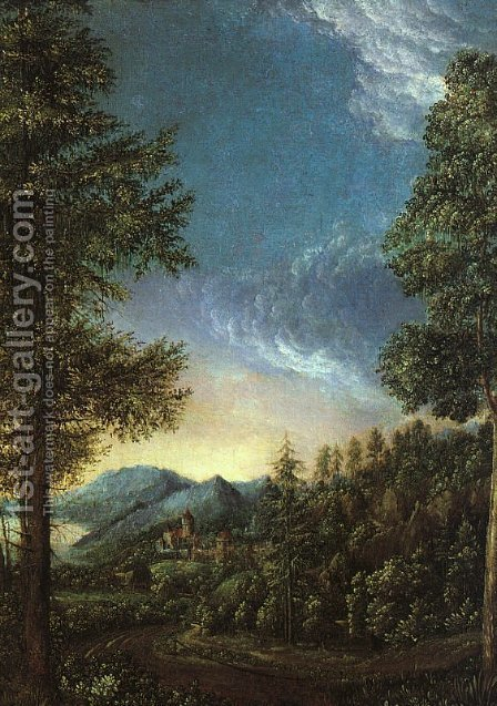 View of the Danube Valley near Regensburg by Albrecht Altdorfer - Reproduction Oil Painting