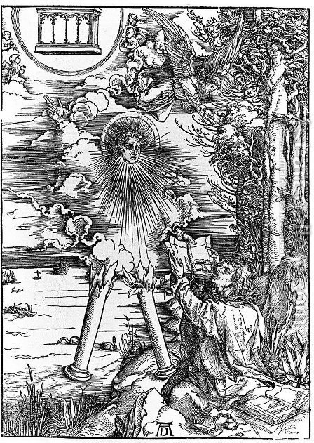 St.John Swallowing Book Presented by Angel by Albrecht Durer - Reproduction Oil Painting