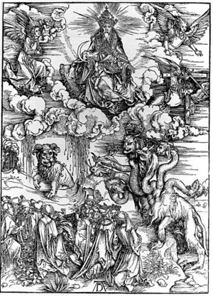 Reproduction oil paintings - Albrecht Durer - The Seven-Headed Beast and the Beast with Lamb's Horns