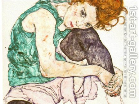 Egon Schiele: Sitting Woman with Legs Drawn Up - reproduction oil painting