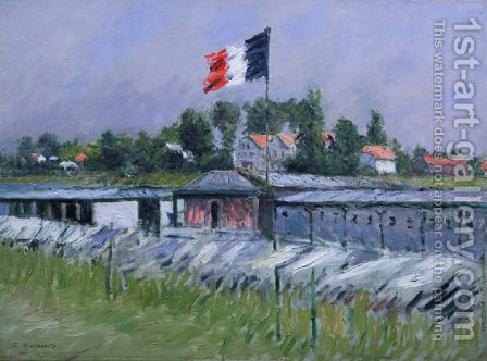 Gustave Caillebotte: Lavoir sur la Seine, Linge Sechant - reproduction oil painting