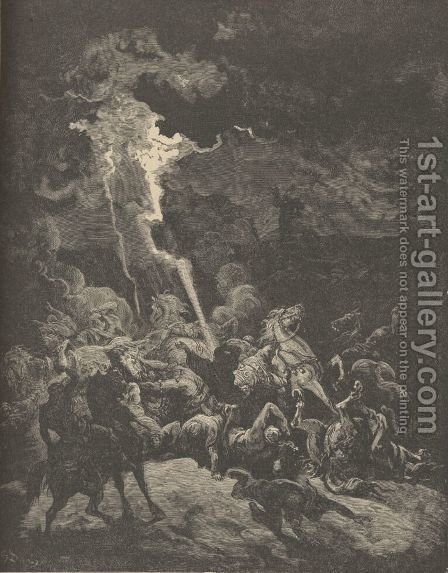 Elijah Destroying The Messengers Of Ahaziah by Gustave Dore - Reproduction Oil Painting