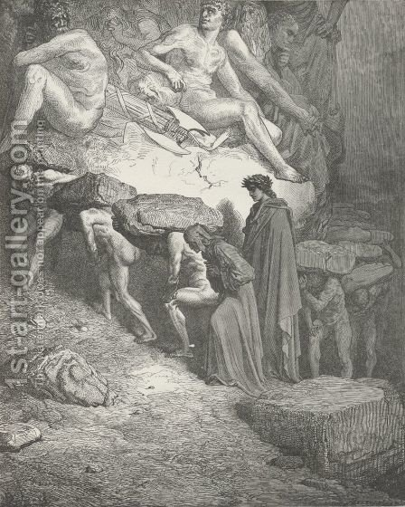 I with that laden spirit journey'd on (Canto XII., line 2) by Gustave Dore - Reproduction Oil Painting