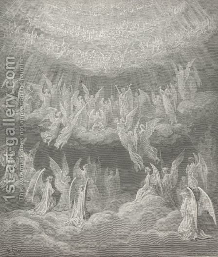My spirit reel'd, so passing sweet the strain: (Canto XXVII., line 4) by Gustave Dore - Reproduction Oil Painting