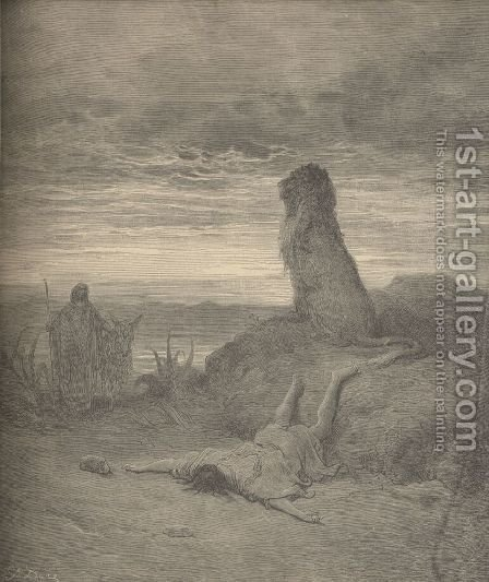 The Prophet Slain By A Lion by Gustave Dore - Reproduction Oil Painting