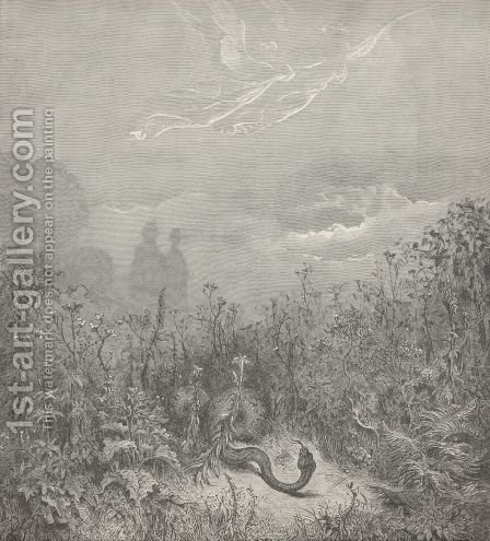 The serpent fled;  (Canto VIII., line 116) by Gustave Dore - Reproduction Oil Painting