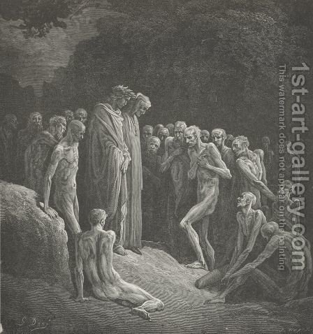 The shadowy forms, That seem'd things dead and dead again, (Canto XXIV., lines 4-6) by Gustave Dore - Reproduction Oil Painting