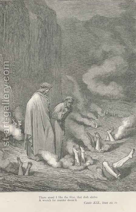 There stood I like the friar, (Canto XIX., line 10) by Gustave Dore - Reproduction Oil Painting