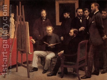 A Studio in the Batignolles by Ignace Henri Jean Fantin-Latour - Reproduction Oil Painting