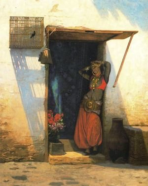 Reproduction oil paintings - Jean-Léon Gérôme - Woman of Cairo at her Door