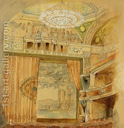 Design for Lyceum Theatre, New York by Louis Comfort Tiffany - Reproduction Oil Painting
