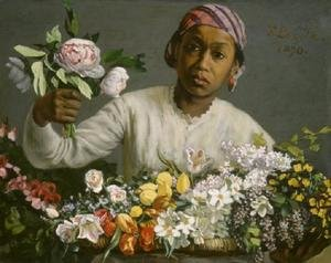 Reproduction oil paintings - Frederic Bazille - Young Woman with Peonies